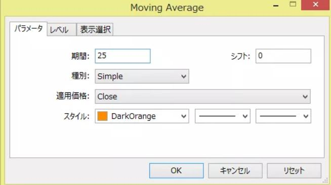 移動平均線の画面設定