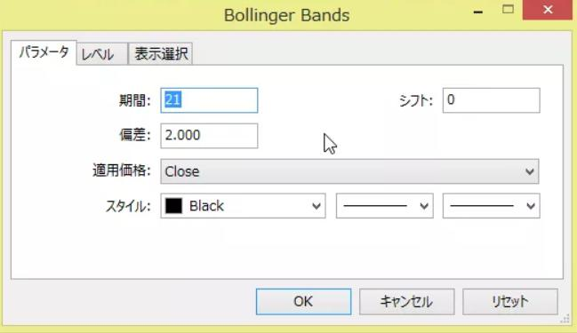 ボリンジャーバンドの設定画面